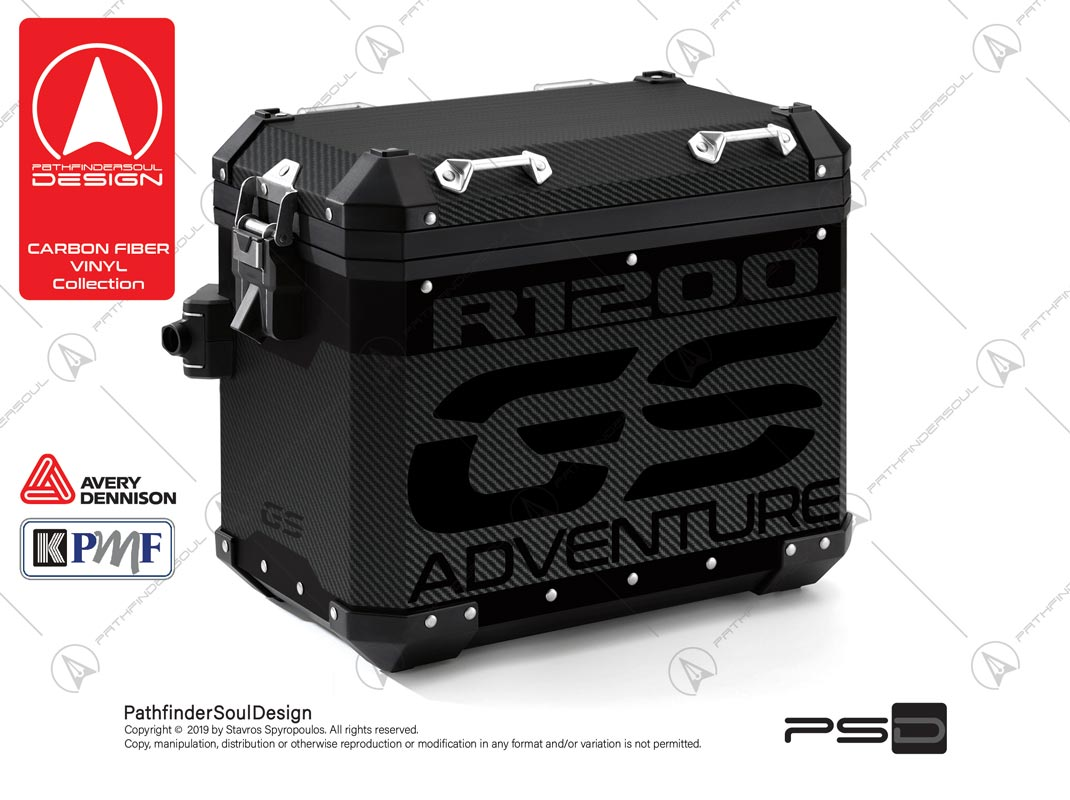 "R1200GS ADVENTURE TRIPLE BLACK BMW ALUMINIUM PANNIERS ""CARBON FIBER VINYL"" KIT#24101"