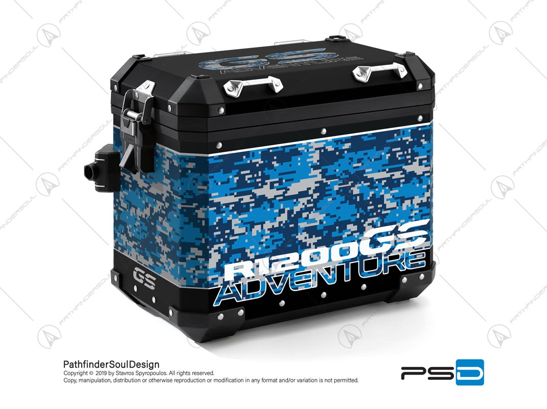 "R1200GS ADVENTURE CORDOBA BLUE BMW ALUMINIUM PANNIERS ""DIGITAL CAMOUFLAGE"" STICKERS KIT#26101"