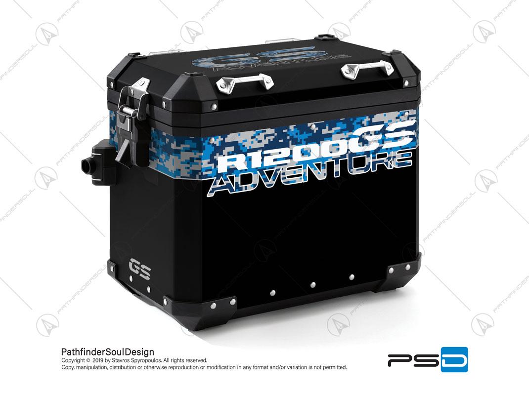 "R1200GS ADVENTURE CORDOBA BLUE BMW ALUMINIUM PANNIERS ""DIGITAL CAMOUFLAGE"" STICKERS KIT#26102"