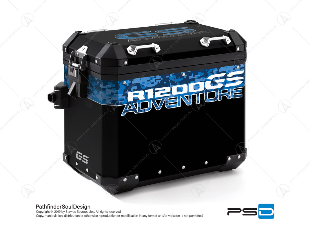 "R1200GS ADVENTURE CORDOBA BLUE BMW ALUMINIUM PANNIERS ""DIGITAL CAMOUFLAGE"" STICKERS KIT#26104"