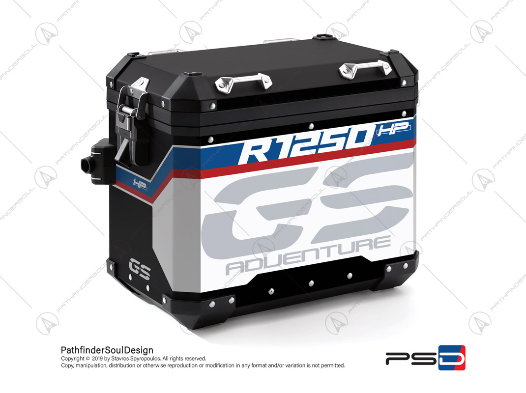 "R1250GS ADVENTURE HP STYLE BMW ALUMINIUM PANNIERS ""HP ADV"" STICKERS KIT#25201"