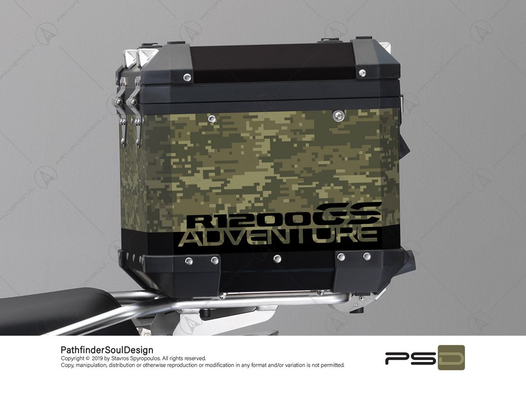 "R1200GS ADVENTURE OLIVE GREEN BMW ALUMINIUM TOP BOX ""DIGITAL CAMOUFLAGE"" STICKERS KIT#26101"