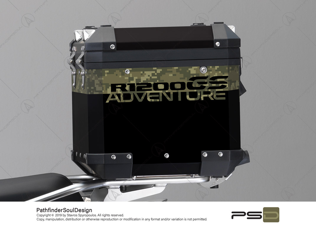 "R1200GS ADVENTURE OLIVE GREEN BMW ALUMINIUM TOP BOX ""DIGITAL CAMOUFLAGE"" STICKERS KIT#26102"
