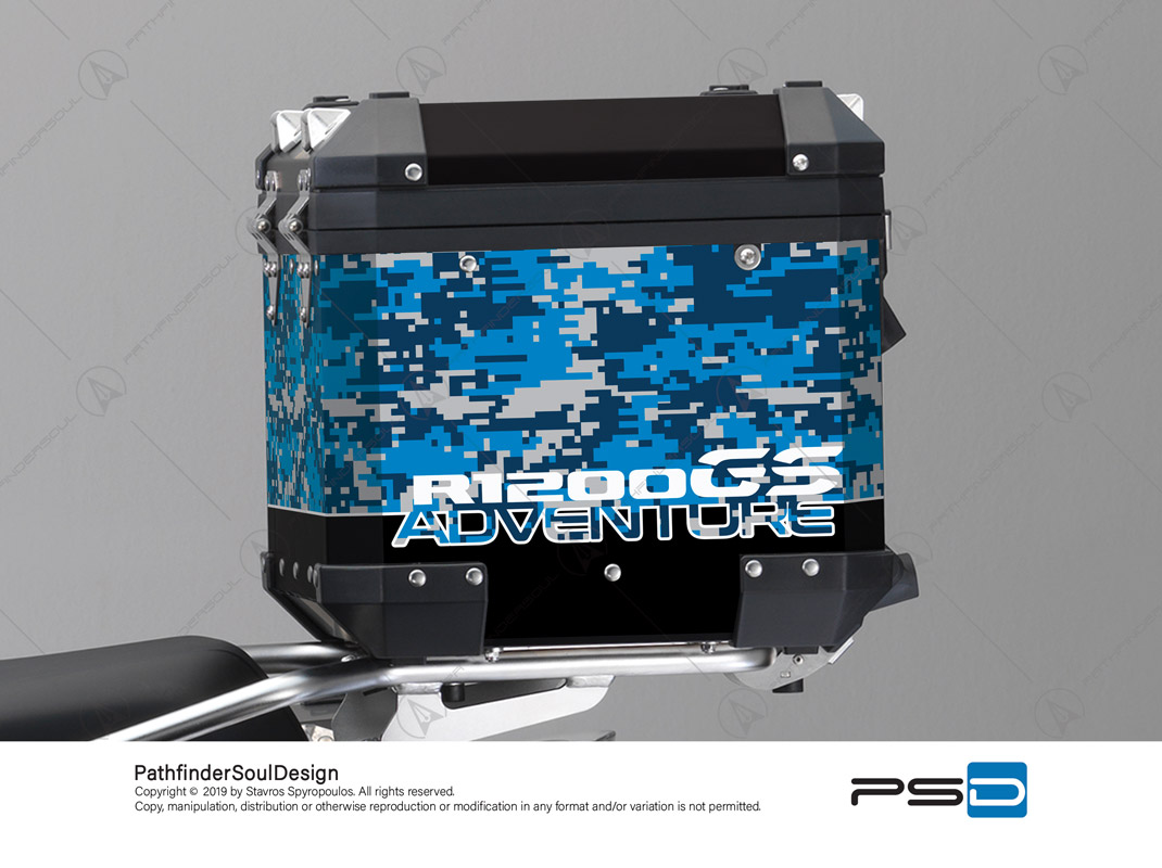R1200GS ADVENTURE CORDOBA BLUE BMW ALUMINIUM TOP BOX DIGITAL CAMOUFLAGE STICKERS KIT#26101
