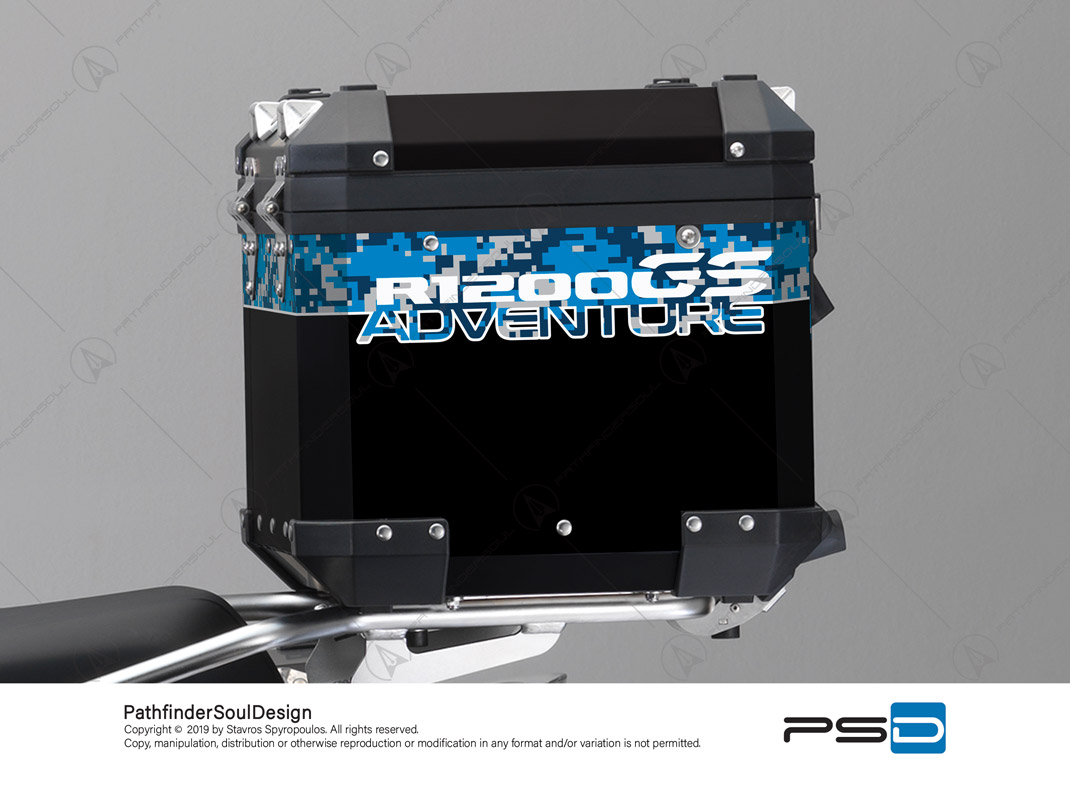 R1200GS ADVENTURE CORDOBA BLUE BMW ALUMINIUM TOP BOX DIGITAL CAMOUFLAGE STICKERS KIT#26102