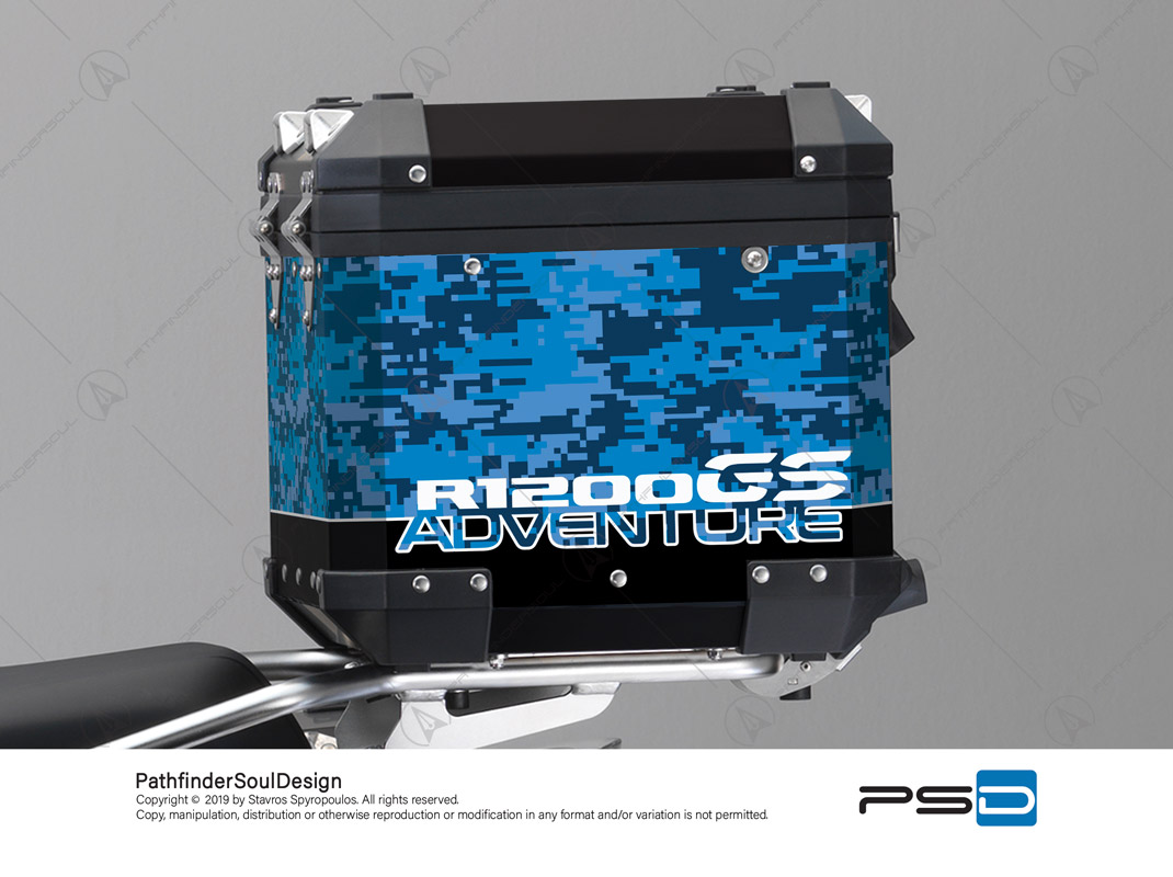 R1200GS ADVENTURE CORDOBA BLUE BMW ALUMINIUM TOP BOX DIGITAL CAMOUFLAGE STICKERS KIT#26103