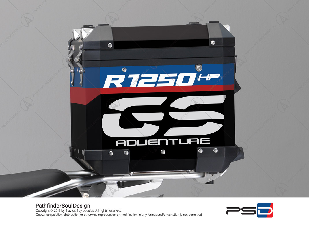 "R1250GS ADVENTURE HP STYLE BMW ALUMINIUM TOP BOX ""HP ADV"" STICKERS KIT#25202"