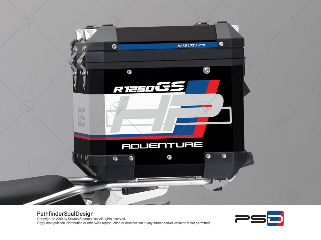 "R1250GS ADVENTURE HP STYLE BMW ALUMINIUM TOP BOX ""HP"" STICKERS KIT#18901"