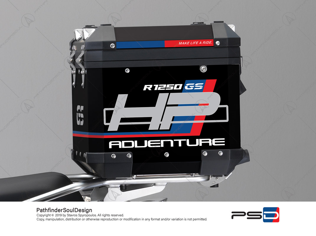 "R1250GS ADVENTURE HP STYLE BMW ALUMINIUM TOP BOX ""HP"" STICKERS KIT#18902"