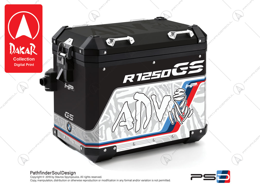 "R1250GS ADVENTURE HP STYLE BMW ALUMINIUM PANNIERS ""DAKAR"" STICKERS KIT#19101"