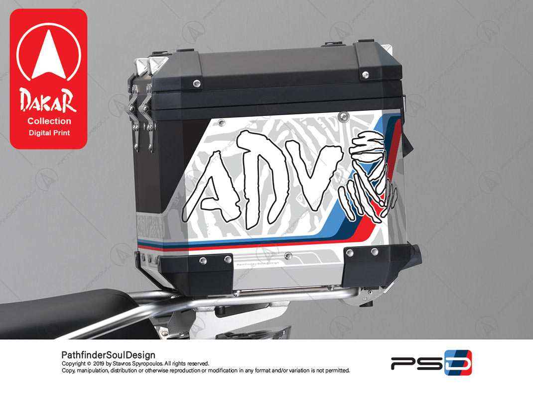 "R1250GS ADVENTURE HP STYLE BMW ALUMINIUM TOP BOX ""DAKAR"" STICKERS KIT#19101"