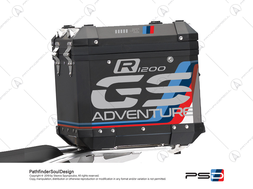 "R1200GS ADVENTURE ALPINE WHITE BMW ALUMINIUM TOP BOX ""MOTORSPORT ADV"" STICKERS KIT#18103"