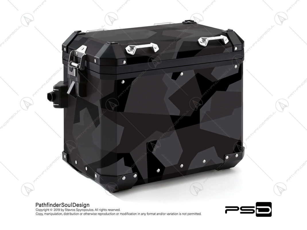 "R1200GS ADVENTURE TRIPLE BLACK BMW ALUMINIUM PANNIERS ""DARK SWEDISH M90 CAMO"" STICKERS KIT#03236"