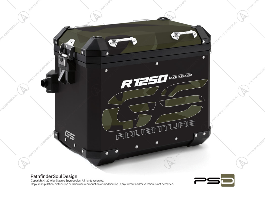 "R1250GS ADVENTURE STYLE EXCLUSIVE BMW ALUMINIUM PANNIERS ""SWEDISH M90 CAMO"" STICKERS KIT#03238"