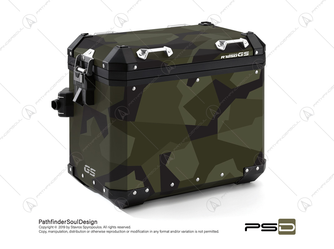 "R1250GS ADVENTURE STYLE EXCLUSIVE BMW ALUMINIUM PANNIERS ""SWEDISH M90 CAMO"" STICKERS KIT#03236"