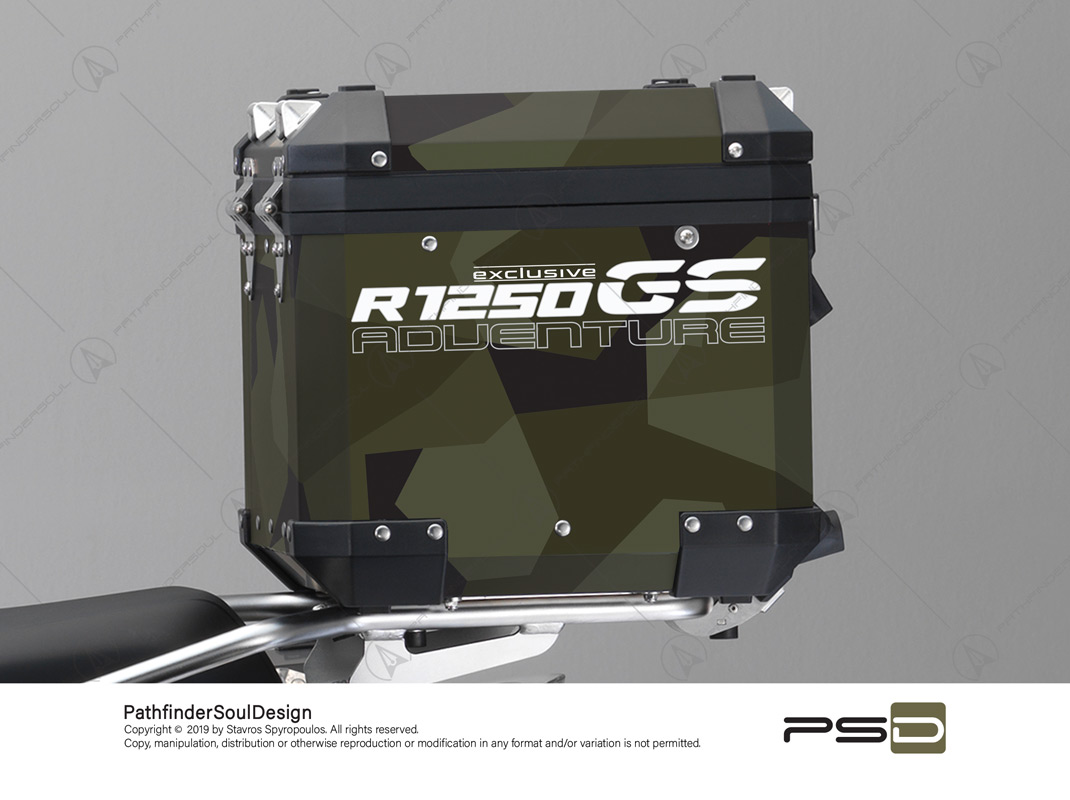 "R1250GS ADVENTURE STYLE EXCLUSIVE BMW ALUMINIUM TOP BOX ""SWEDISH M90 CAMO"" STICKERS KIT#03237"