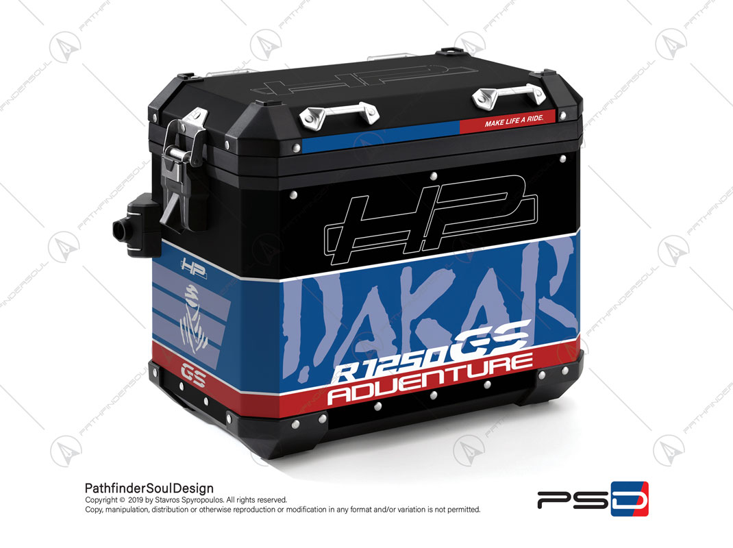 "R1250GS ADVENTURE HP STYLE BMW ALUMINIUM PANNIERS ""HP DAKAR"" STICKERS KIT#29304"