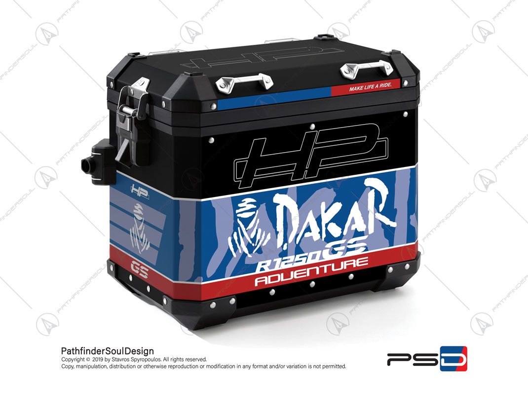 "R1250GS ADVENTURE HP STYLE BMW ALUMINIUM PANNIERS ""HP DAKAR"" STICKERS KIT#29306"