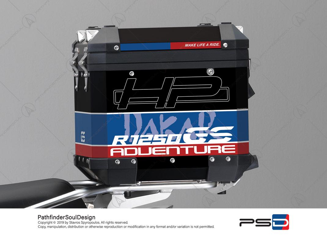 "R1250GS ADVENTURE HP STYLE BMW ALUMINIUM TOP BOX ""HP DAKAR"" STICKERS KIT#29304"