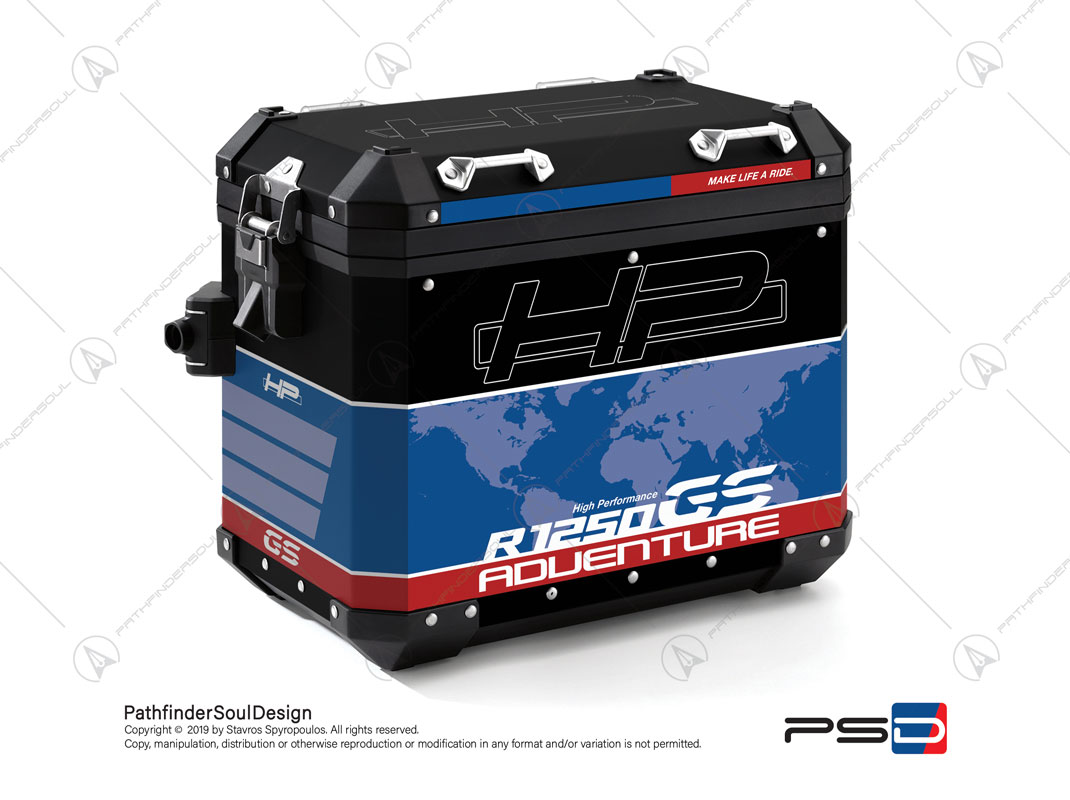 "R1250GS ADVENTURE HP STYLE BMW ALUMINIUM PANNIERS ""HP"" STICKERS KIT#29302"