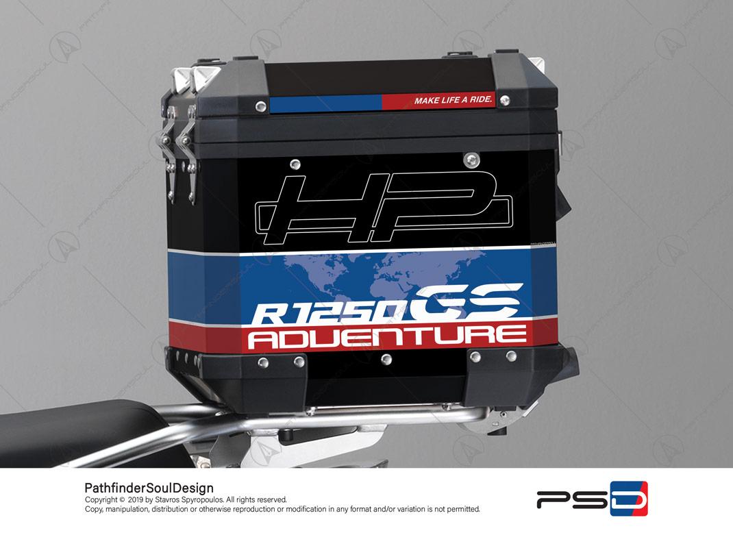 "R1250GS ADVENTURE HP STYLE BMW ALUMINIUM TOP BOX ""HP"" STICKERS KIT#29302"