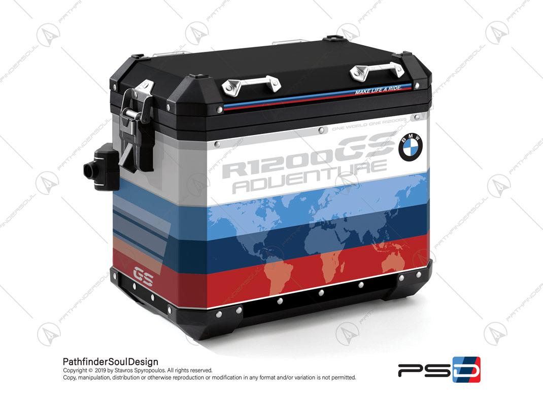 "R1200GS ADVENTURE ALPINE WHITE BMW ALUMINIUM PANNIERS ""MOTORSPORT"" STICKERS KIT#29312"
