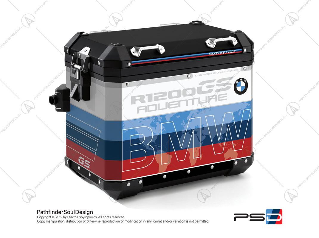 "R1200GS ADVENTURE ALPINE WHITE BMW ALUMINIUM PANNIERS ""MOTORSPORT"" STICKERS KIT#29313"
