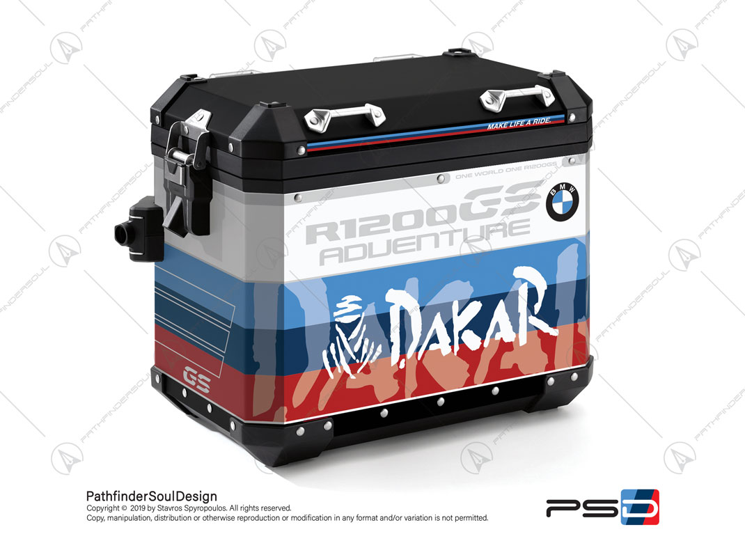 "R1200GS ADVENTURE ALPINE WHITE BMW ALUMINIUM PANNIERS ""MOTORSPORT"" STICKERS KIT#29314"