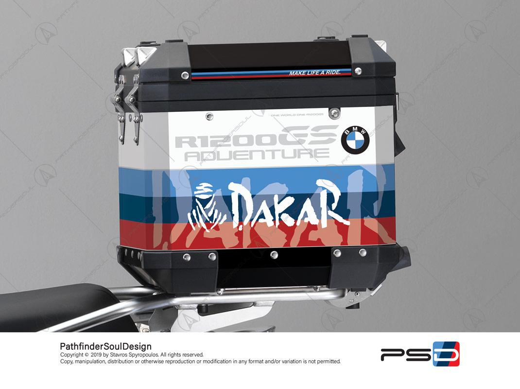 "R1200GS ADVENTURE ALPINE WHITE BMW ALUMINIUM TOP BOX ""MOTORSPORT"" STICKERS KIT#29314"
