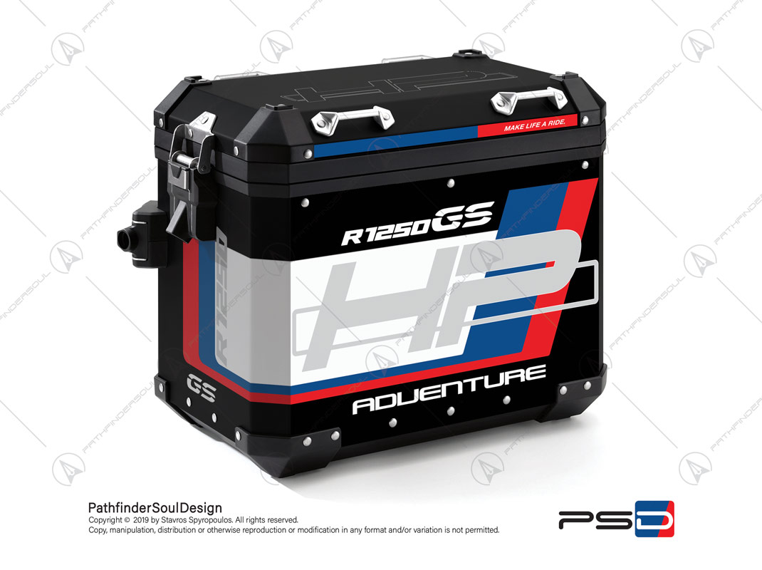"R1250GS ADVENTURE HP STYLE BMW ALUMINIUM PANNIERS ""HP"" STICKERS KIT#18903"