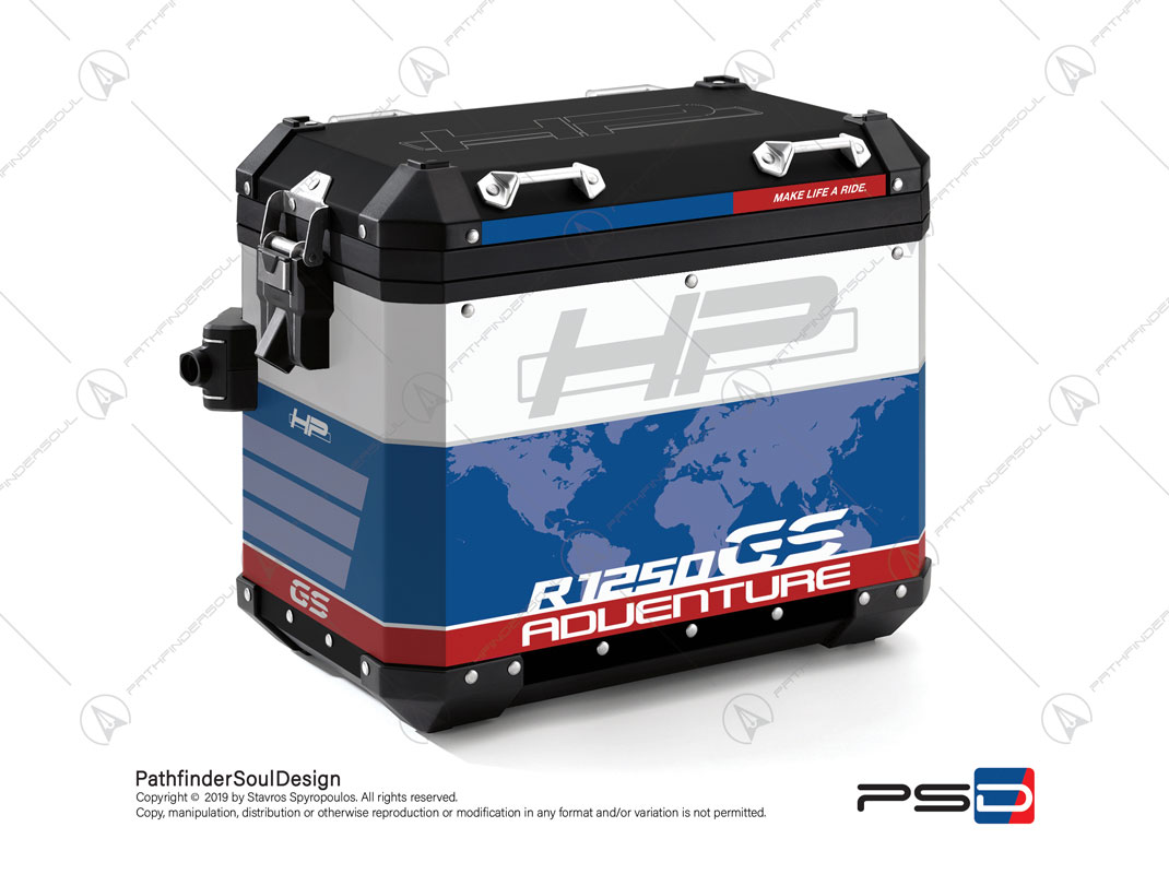 "R1250GS ADVENTURE HP STYLE BMW ALUMINIUM PANNIERS ""HP"" STICKERS KIT#29303"