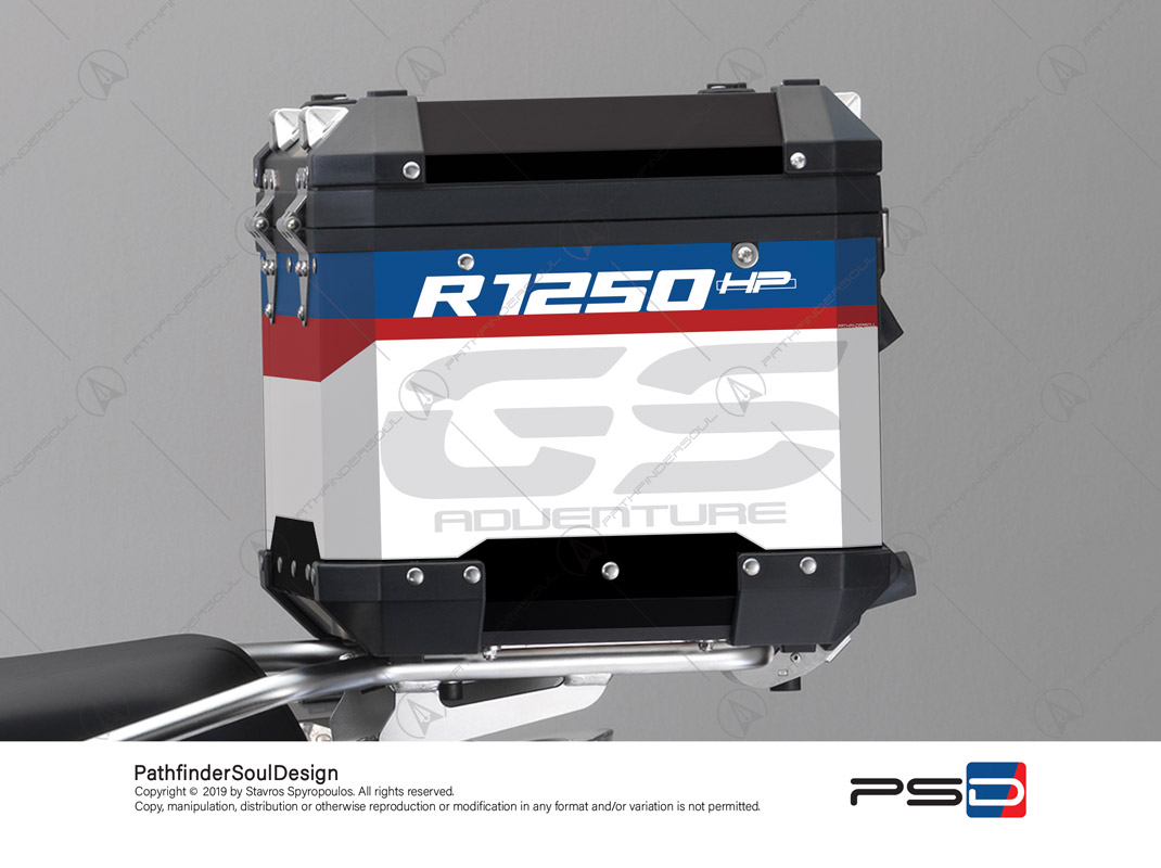 "R1250GS ADVENTURE HP STYLE BMW ALUMINIUM TOP BOX ""HP ADV"" STICKERS KIT#25203"
