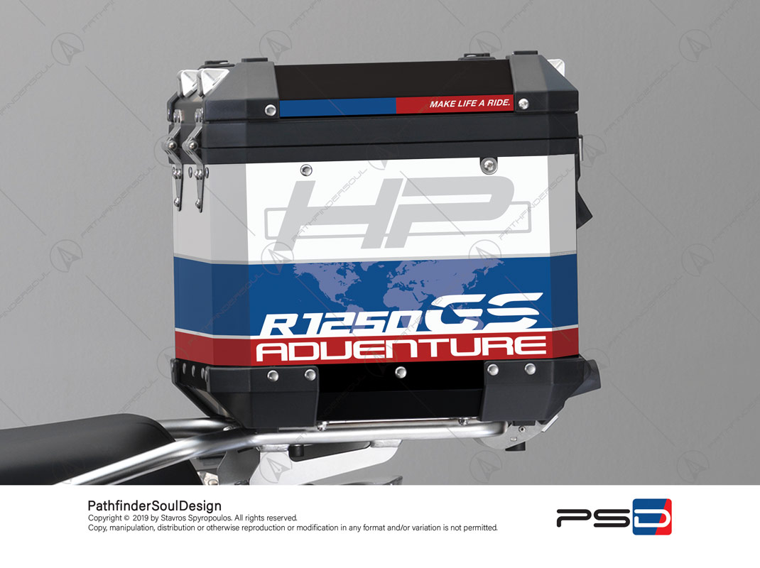 "R1250GS ADVENTURE HP STYLE BMW ALUMINIUM TOP BOX ""HP"" STICKERS KIT#29303"