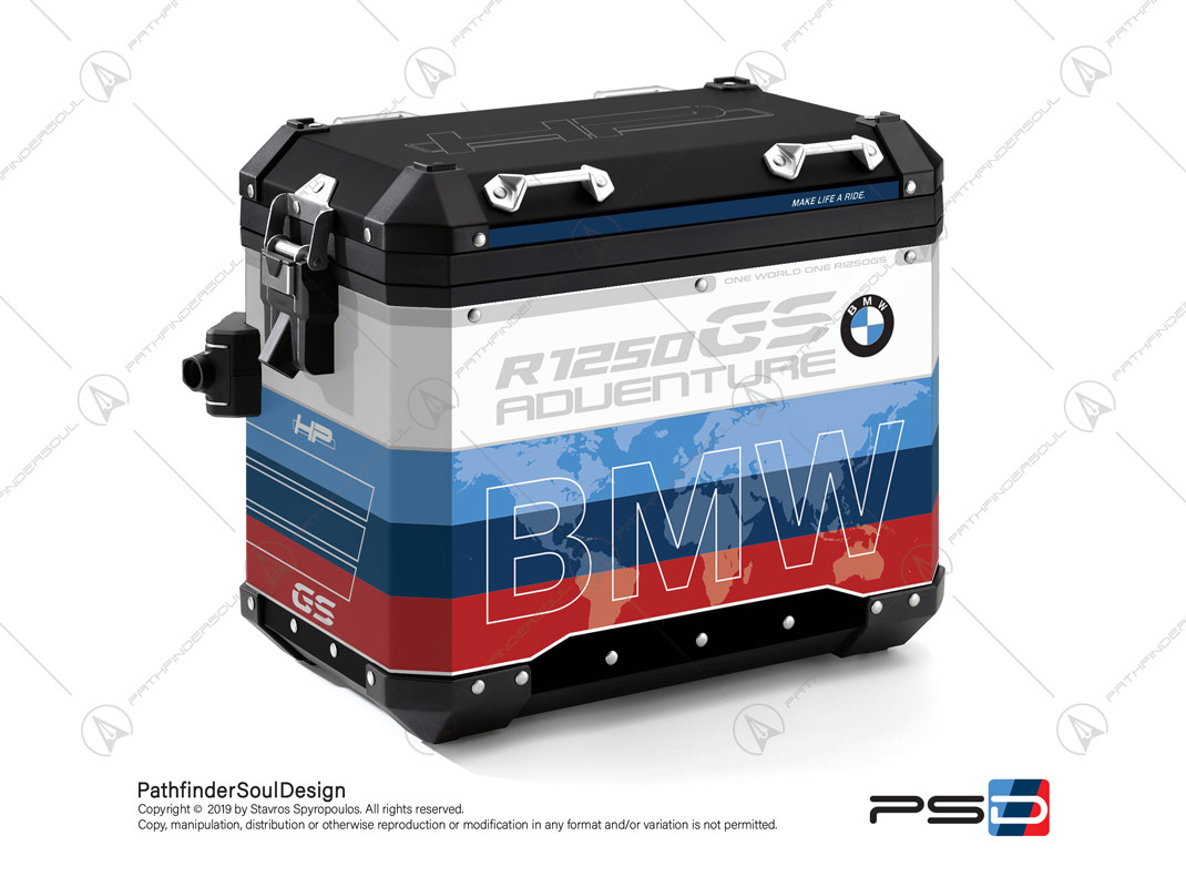 "R1250GS ADVENTURE HP STYLE BMW ALUMINIUM PANNIERS ""MOTORSPORT"" STICKERS KIT#29313"