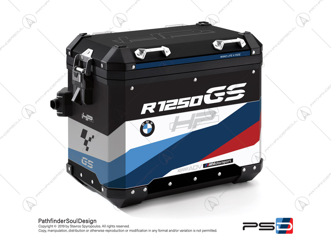 "R1250GS ADVENTURE HP STYLE BMW ALUMINIUM PANNIERS ""HP MOTORSPORT"" STICKERS KIT#32217"