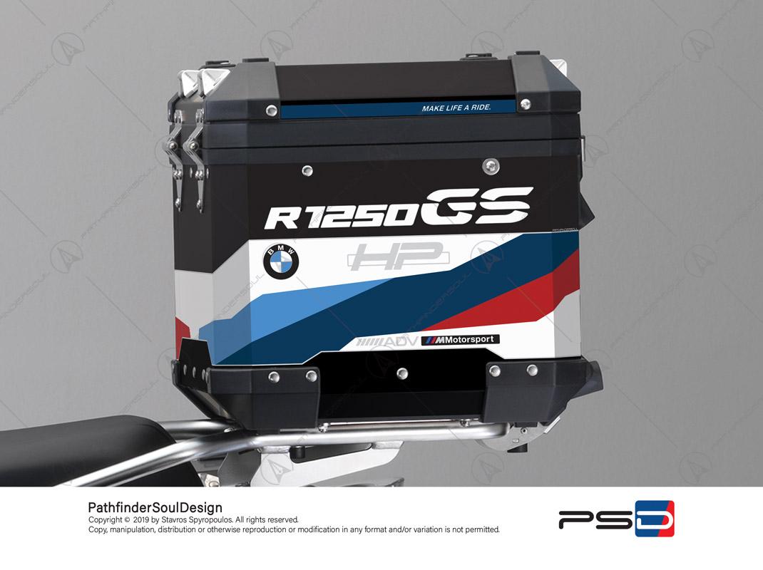 "R1250GS ADVENTURE HP STYLE BMW ALUMINIUM TOP BOX ""HP MOTORSPORT"" STICKERS KIT#32217"
