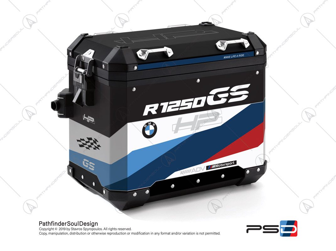 "R1250GS ADVENTURE HP STYLE BMW ALUMINIUM PANNIERS ""HP MOTORSPORT"" STICKERS KIT#32218"