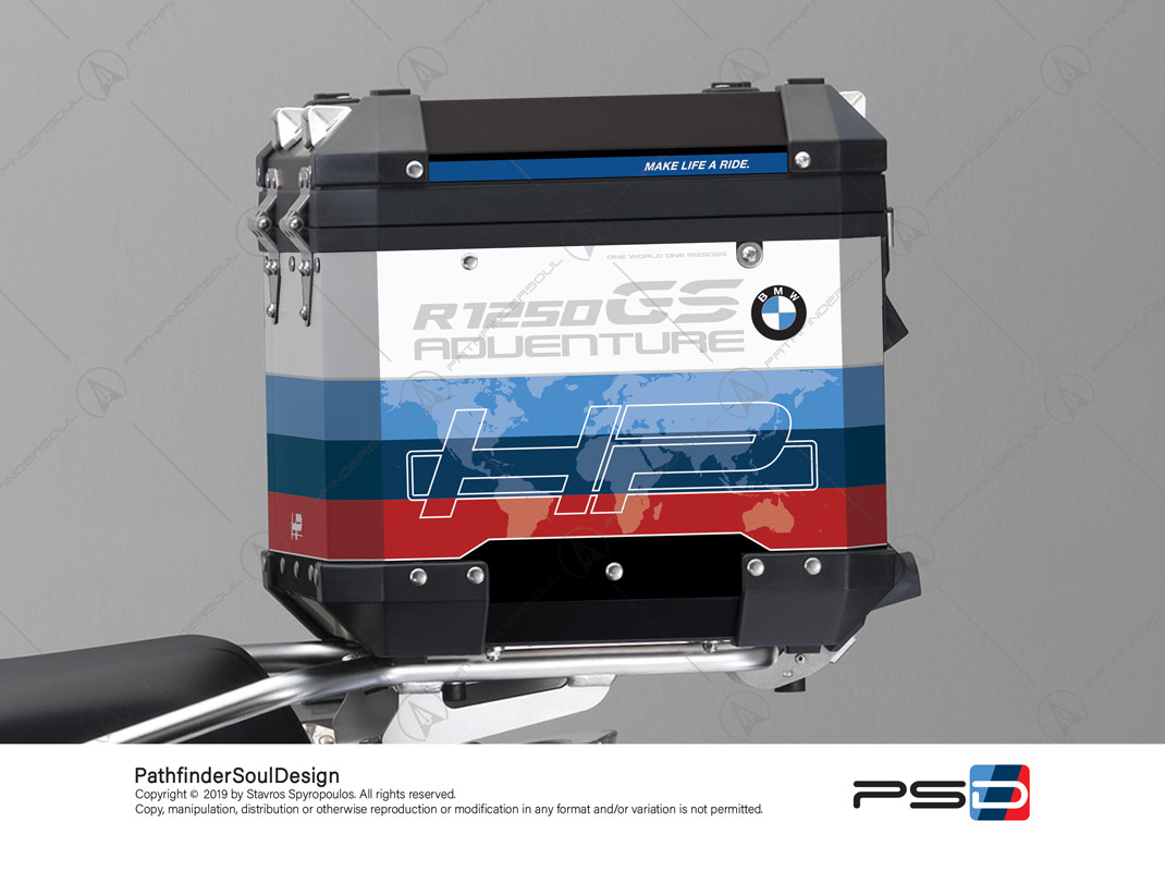 "R1250GS ADVENTURE HP STYLE BMW ALUMINIUM TOP BOX ""MOTORSPORT"" STICKERS KIT#29315"