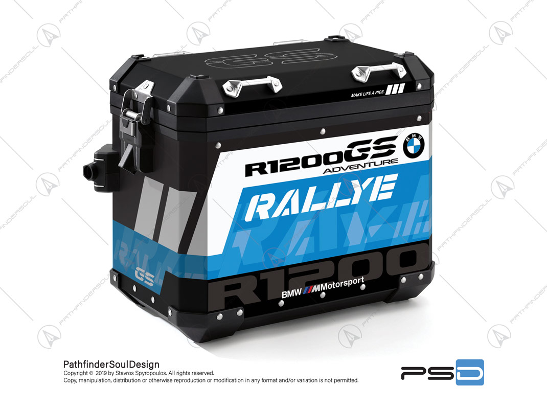 "R1200GS ADVENTURE CORDOBA BLUE BMW ALUMINIUM PANNIERS ""RALLYE"" STICKERS KIT#34914"