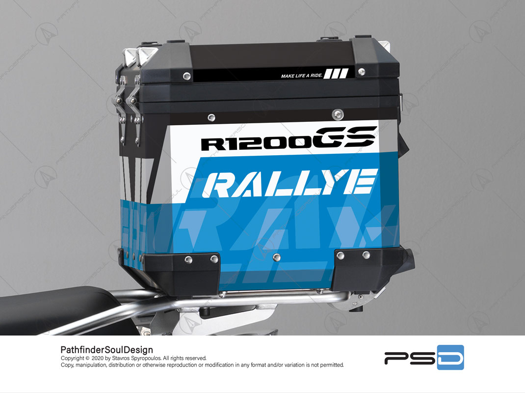 "R1200GS ADVENTURE CORDOBA BLUE BMW ALUMINIUM TOP BOX ""RALLYE"" STICKERS KIT#34914"