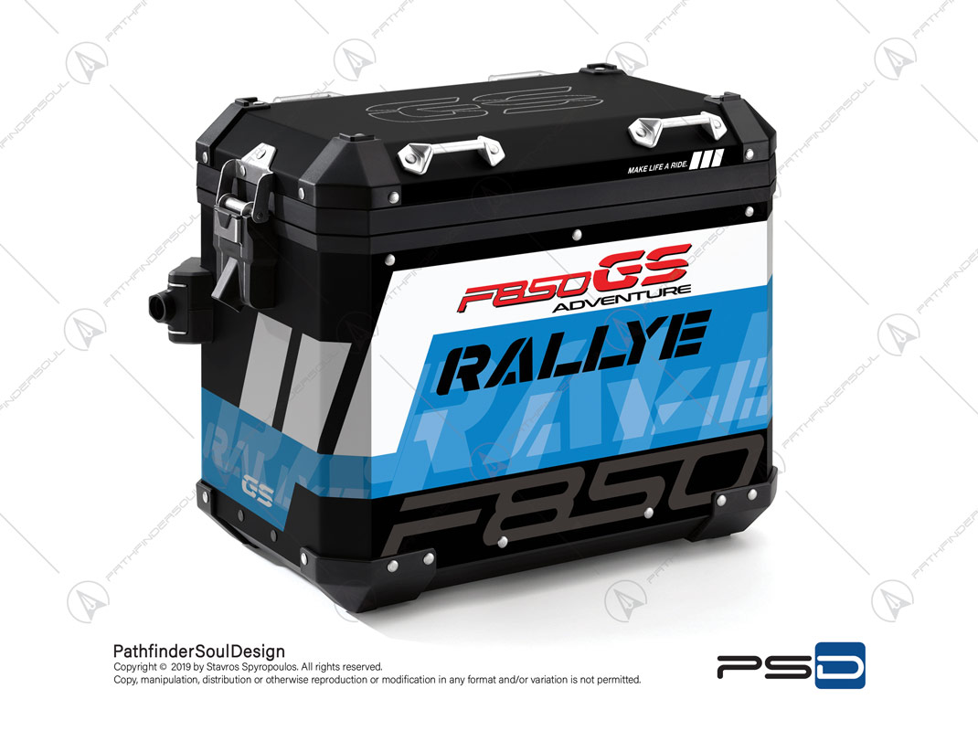 "F850GS ADVENTURE STYLE RALLYE BMW ALUMINIUM PANNIERS ""RALLYE"" STICKERS KIT#34914"