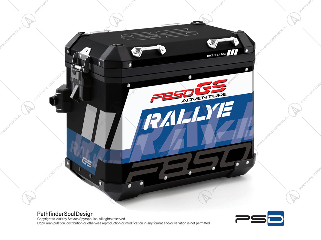 "F850GS ADVENTURE STYLE RALLYE BMW ALUMINIUM PANNIERS ""RALLYE"" STICKERS KIT#34915"