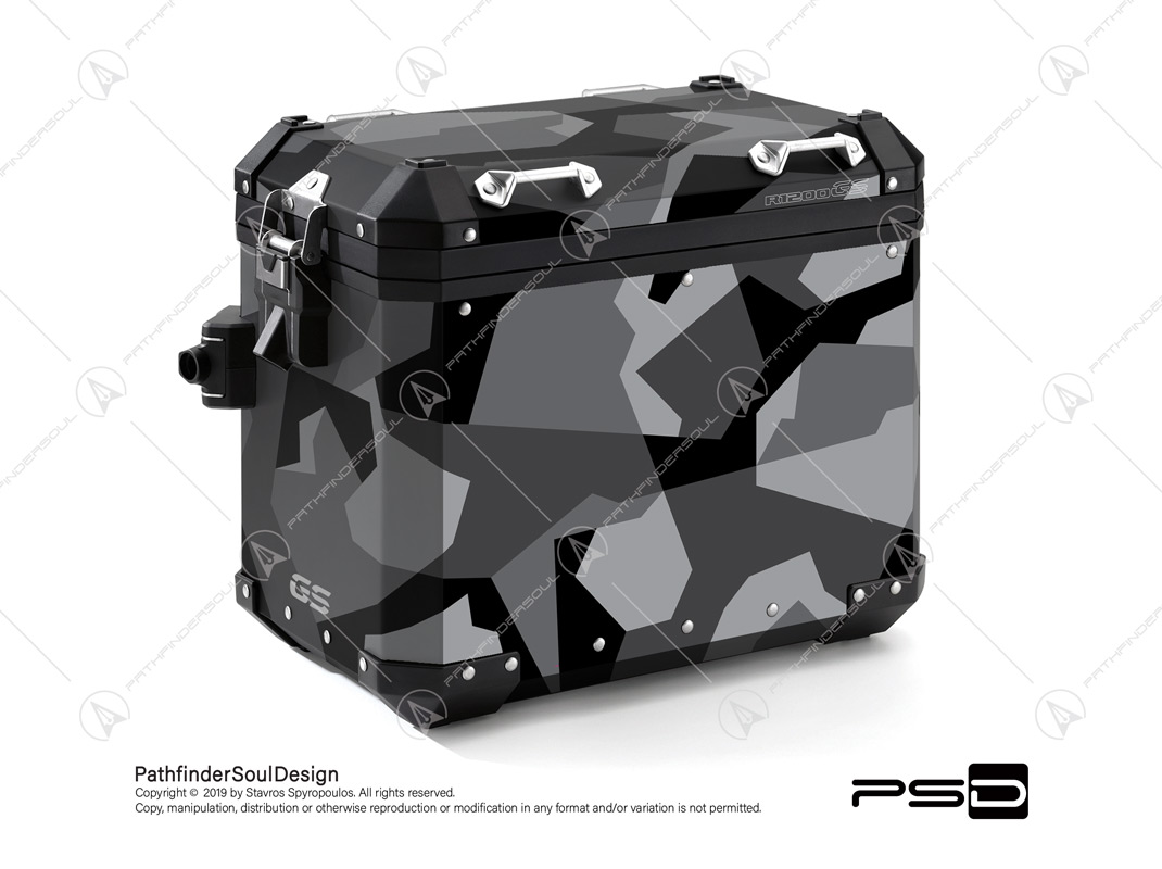 "R1200GS ADVENTURE TRIPLE BLACK BMW ALUMINIUM PANNIERS ""SWEDISH M90 CAMO"" STICKERS KIT#03240"