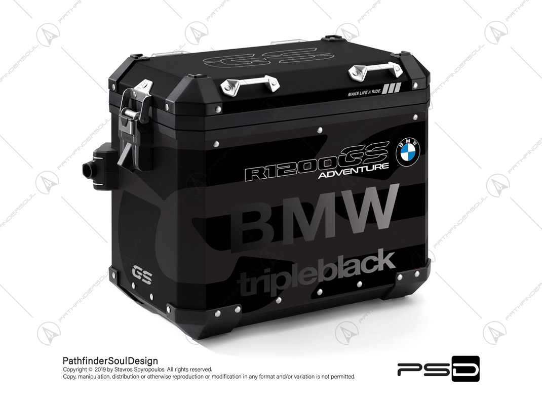 "R1200GS ADVENTURE TRIPLE BLACK BMW ALUMINIUM PANNIERS ""TRIPLE BLACK CUSTOM"" STICKERS KIT#34811"