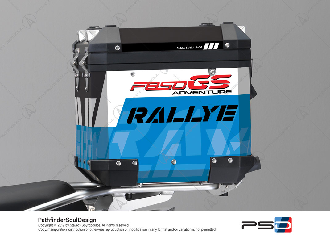 "F850GS ADVENTURE STYLE RALLYE BMW ALUMINIUM TOP BOX ""RALLYE"" STICKERS KIT#34914"