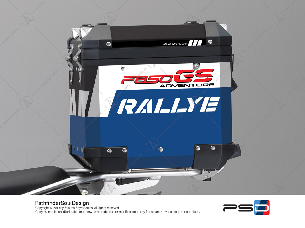 "F850GS ADVENTURE STYLE RALLYE BMW ALUMINIUM TOP BOX ""RALLYE"" STICKERS KIT#34916"