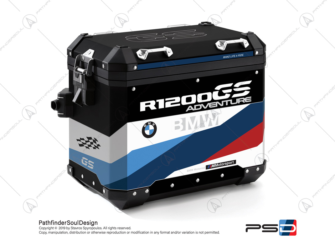 "R1200GS ADVENTURE ALPINE WHITE BMW ALUMINIUM PANNIERS ""MOTORSPORT"" STICKERS KIT#32217"