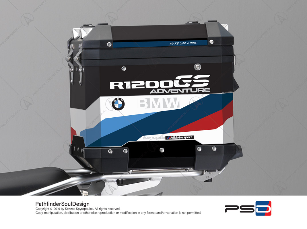 "R1200GS ADVENTURE ALPINE WHITE BMW ALUMINIUM TOP BOX ""MOTORSPORT"" STICKERS KIT#32217"