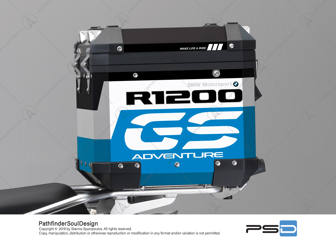 "R1200GS ADVENTURE CORDOBA BLUE BMW ALUMINIUM TOP BOX ""RALLYE"" STICKERS KIT#34915"