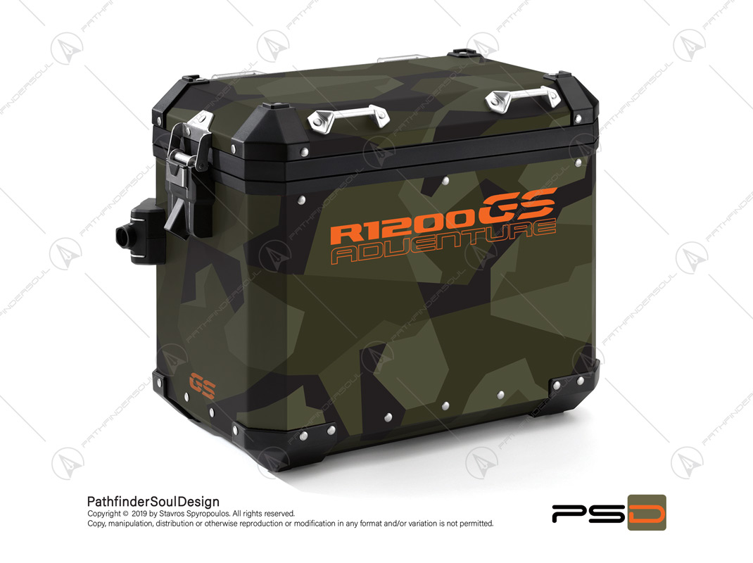 "R1200GS ADVENTURE OLIVE GREEN BMW ALUMINIUM PANNIERS ""SWEDISH M90 CAMO"" STICKERS KIT#03237"